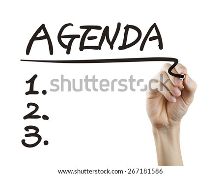 agenda word written by hand over white background - stock photo