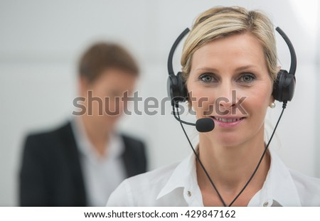 agent answering customers - stock photo