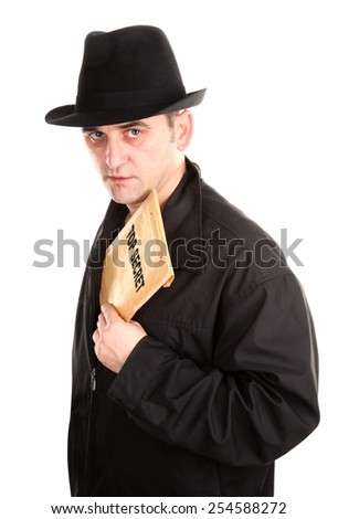 Agent is holding envelope top secret - stock photo