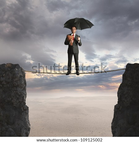 agent on a suspended rope - stock photo