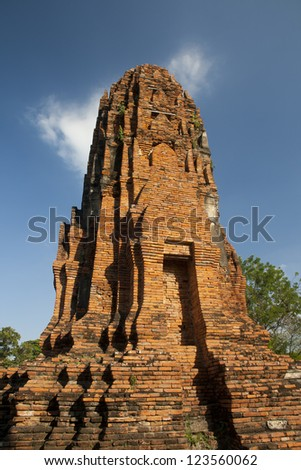 Ages pagoda at the UNESCO historical park, Ayutthaya, Thailand. This ruined pagoda was built around 400 years ago in the Ayutthaya kingdom period.