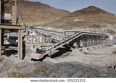 Aggregate sifting at an asphalt manufacturing plant, Nevada, USA - stock photo