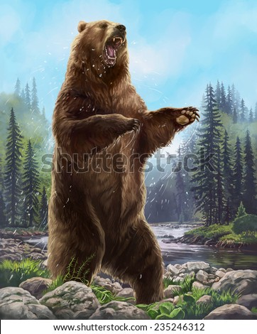Aggressive Bear. Raster illustration - stock photo