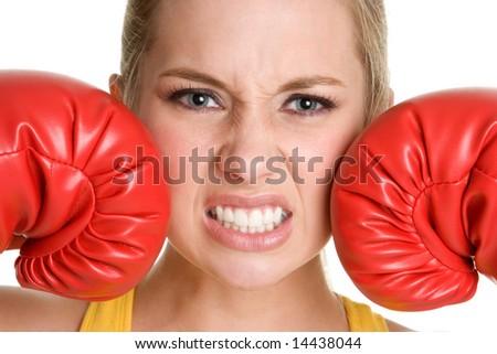 Aggressive Boxer Girl - stock photo