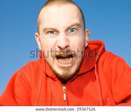 aggressive man - stock photo
