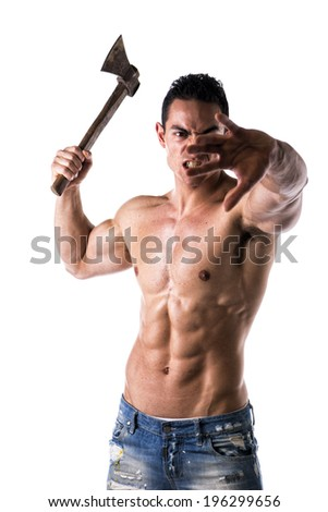 Aggressive, violent muscular young man shirtless, holding axe in his hand, isolated on white - stock photo