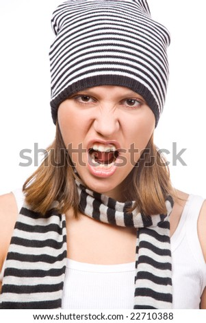 aggressive young girl on white