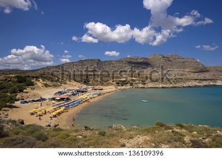 Agia Agathi beach, Rhodes, Greece - stock photo