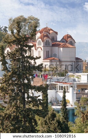 Agia Marina or Saint Marina Greek orthodox church situated on the Hill of the Nymphs in Athens, Greece. - stock photo