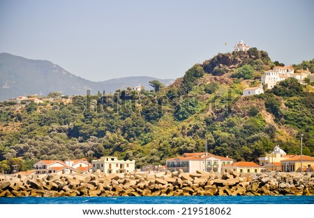 Agia Triada church above Karlovasi town. Samos, Greece - stock photo