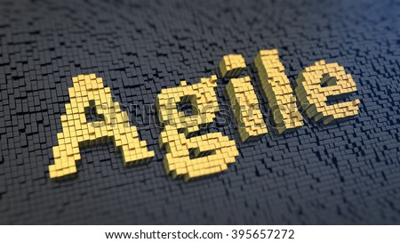 Agile methodology production. Word Agile of the yellow square pixels on a black matrix background. 3D illustration picture - stock photo