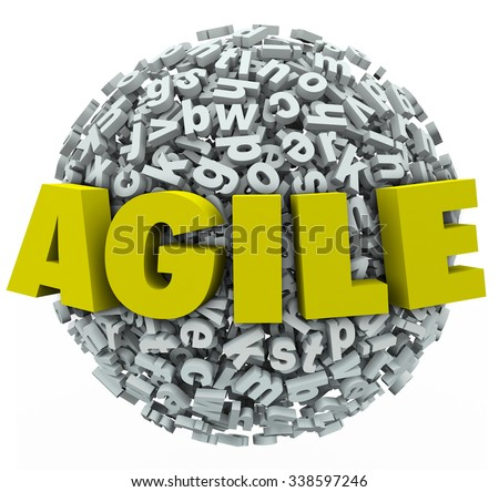Agile word in 3d letters ona  ball or sphere to illustrate adapting or changing with innovation - stock photo