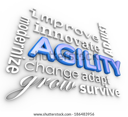 Agility 3d Word Collage Improve Innovate Adjust - stock photo
