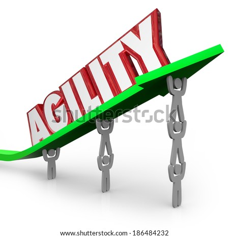 Agility Word Arrow Team Working Together Quick React - stock photo