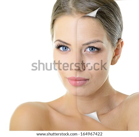 Aging and youth concept, beauty treatment, portrait of beautiful woman with problem and clean skin over white - stock photo
