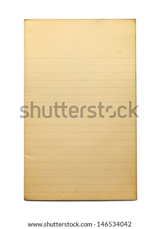 Aging Blank Line Paper Isolated on White Background.