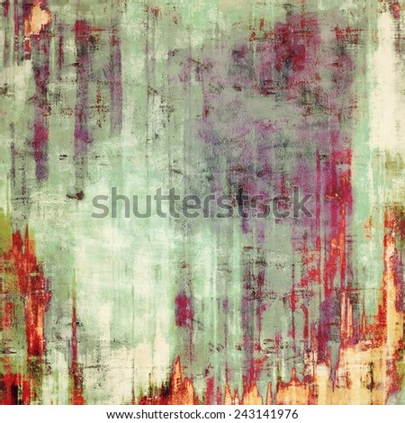 Aging grunge texture, old illustration. With different color patterns: purple (violet); gray; red (orange); yellow (beige) - stock photo