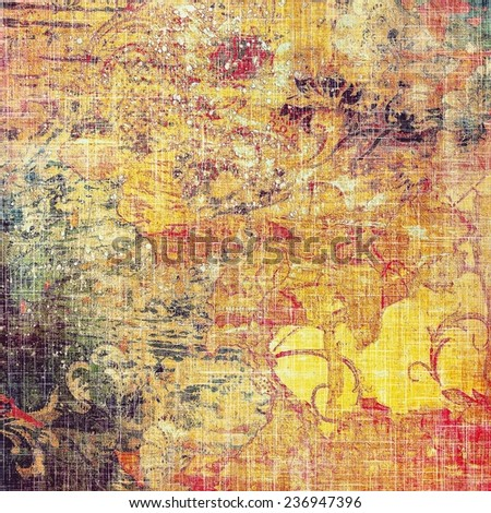 Aging grunge texture, old illustration. With different color patterns: red; orange; yellow; violet