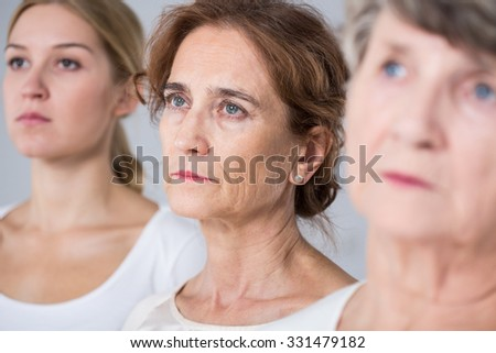 Aging process - three women in different age