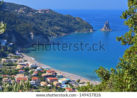 Agios Gordios beach at Corfu island in Greece - stock photo