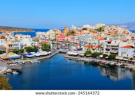 Agios Nikolaos, town on Crete island in Greece. - stock photo