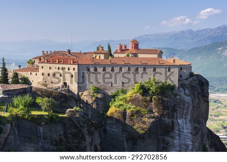 Agios Stefanos Monastery at the complex of Meteora monasteries in Greece - stock photo