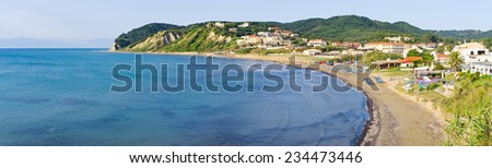 Agios Stefanos town in beautiful bay on Corfu island, Greece - stock photo