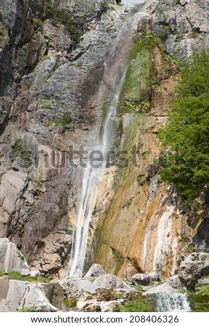 Agnanta waterfall at Tzoumerka of Epirus, Pindos mountains in Greece - stock photo