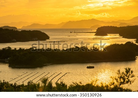 Ago bay silhouette sunsetsky,mie tourism of japan