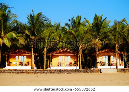 Agonda beach, Goa/ India - January 22, 2017: Private resort (bungalows) on the beach.