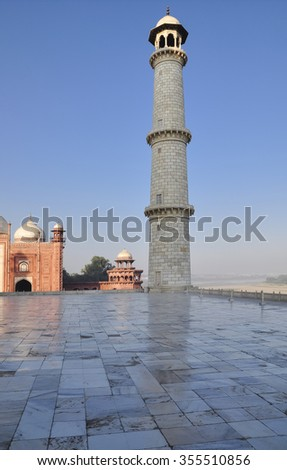 AGRA, INDIA - DECEMBER 25: early morning at Taj Mahal complex on December 25, 2013 in Agra.