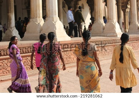 Agra, India, November 26, 2012. Indian girls walking at Agra Fort, an UNESCO World Heritage site.