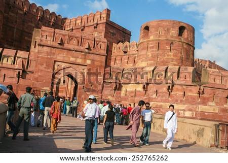 AGRA, INDIA - SEPTEMBER 21, 2008: Entrance gates of the Agra Fort in Agra, Uttar Pradesh, India. - stock photo