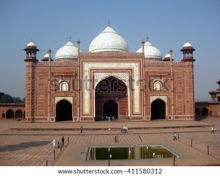 Agra, Uttar Pradesh, India - October 2011: Masjid, mosque beside theTaj Mahal, one of the New Seven Wonders of the World. - stock photo