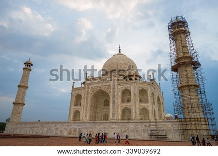 Agra, Uttar Pradesh, India - September 20, 2015: Restoration work in the Taj Mahal complex on September 20, 2015, in Agra, Uttar Pradesh, India. - stock photo