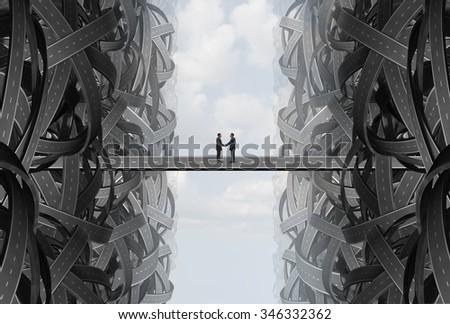 Agreement business handshake partnership deal as a solution strategy with a team coming together out of tangled twisted roads on to a bridge to find a common goal. - stock photo