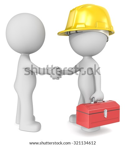 Agreement. Dude 3D characters X2 shaking hands with constructor. - stock photo