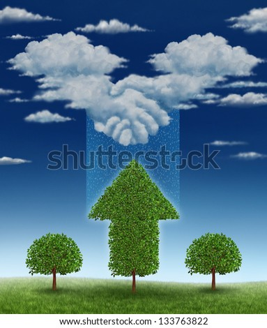 Agreement for growth business concept with a group of clouds coming together shaped as a handshake between businessmen that is raining rain drops on a growing tree that has an upward arrow shape. - stock photo