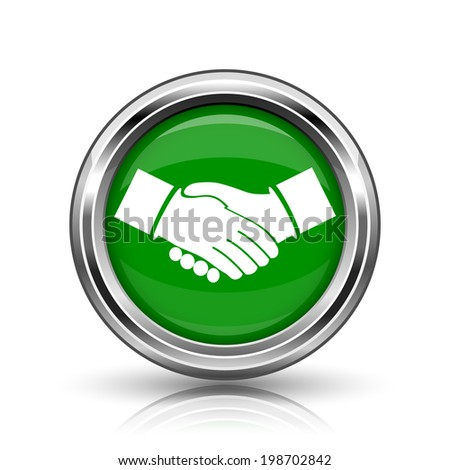 Agreement icon. Metallic internet button on white background.  - stock photo