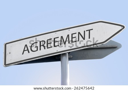 AGREEMENT word on road sign - stock photo