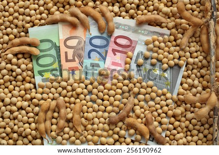 Agricultural concept, heap of soy beans and Euro banknotes - stock photo
