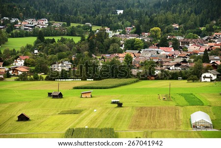 Agricultural fields in Austria, Europe - stock photo