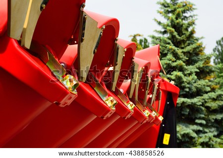 Agricultural harvester closeup on agricultural exhibition