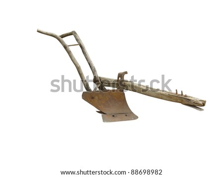 Agricultural old manual plow isolated over white background - stock photo