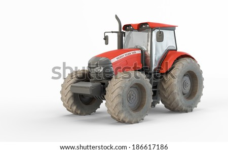 Agricultural red tractor isolated on white background - stock photo