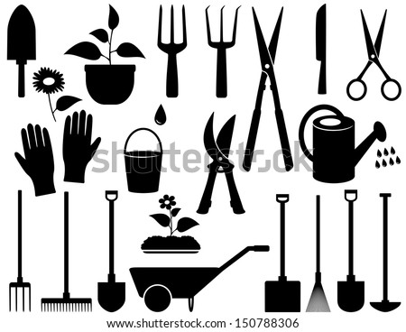 agricultural set with black isolated garden tools - stock photo