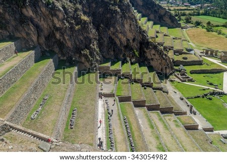 Agricultural terraces of Inca ruins of Ollantaytambo, Sacred Valley of Incas, Peru