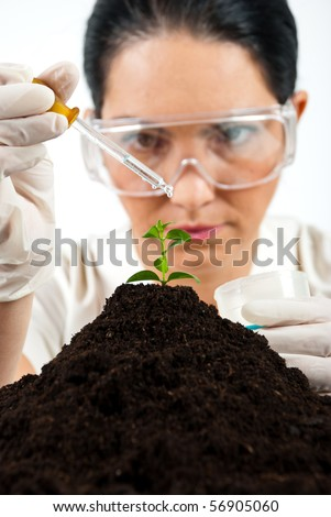 Agricultural woman scientist testing in laboratory ,she using a pipette with liquid on a plant in soil
