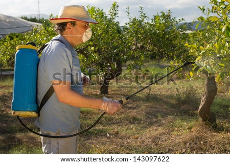 Agricultural worker spraying pesticide on fruit trees - stock photo