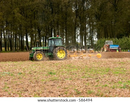 Agriculture, cultivation, plowing of the field.